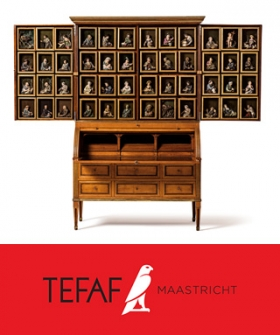 A secrétaire by Theodor Commer with panels containing wax figures by Caspar Bernhard Hardy /